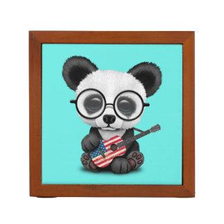 Baby Panda Playing American Flag Guitar Desk Organizer