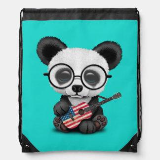 Baby Panda Playing American Flag Guitar Drawstring Bag