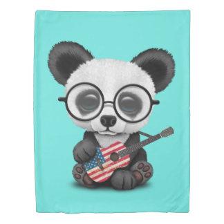 Baby Panda Playing American Flag Guitar Duvet Cover