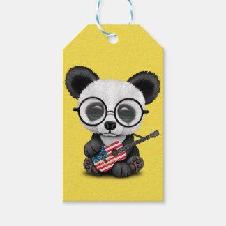 Baby Panda Playing American Flag Guitar Gift Tags
