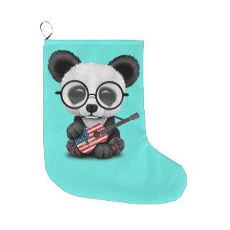 Baby Panda Playing American Flag Guitar Large Christmas Stocking