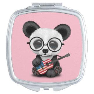 Baby Panda Playing American Flag Guitar Mirror For Makeup
