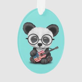 Baby Panda Playing American Flag Guitar Ornament