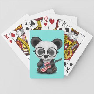 Baby Panda Playing American Flag Guitar Playing Cards
