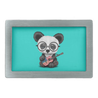 Baby Panda Playing American Flag Guitar Rectangular Belt Buckle