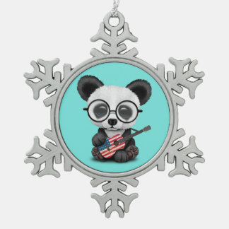 Baby Panda Playing American Flag Guitar Snowflake Pewter Christmas Ornament