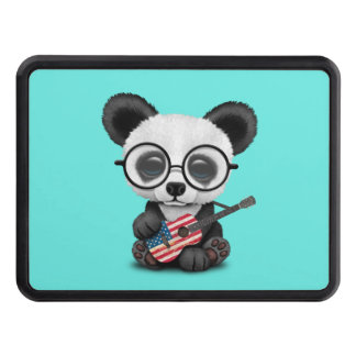 Baby Panda Playing American Flag Guitar Trailer Hitch Cover