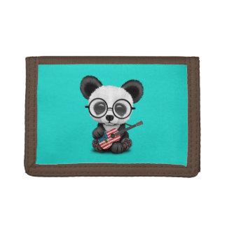 Baby Panda Playing American Flag Guitar Tri-fold Wallet