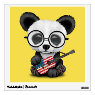 Baby Panda Playing American Flag Guitar Wall Sticker