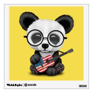 Baby Panda Playing American Flag Guitar Wall Sticker