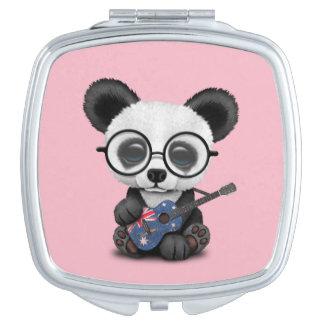 Baby Panda Playing Australian Flag Guitar Compact Mirror
