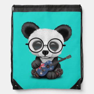 Baby Panda Playing Australian Flag Guitar Drawstring Bag