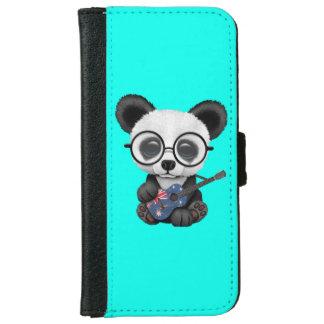 Baby Panda Playing Australian Flag Guitar iPhone 6 Wallet Case