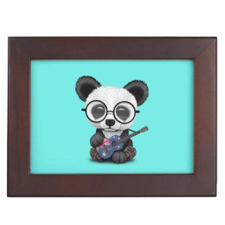 Baby Panda Playing Australian Flag Guitar Keepsake Box