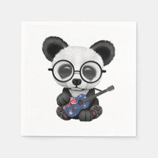 Baby Panda Playing Australian Flag Guitar Paper Napkin