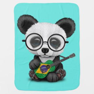 Baby Panda Playing Brazilian Flag Guitar Baby Blanket