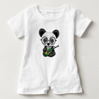 Baby Panda Playing Brazilian Flag Guitar Baby Romper