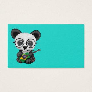Baby Panda Playing Brazilian Flag Guitar Business Card