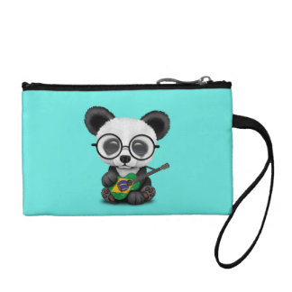 Baby Panda Playing Brazilian Flag Guitar Coin Purse