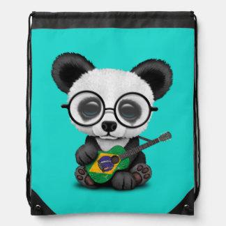 Baby Panda Playing Brazilian Flag Guitar Drawstring Bag