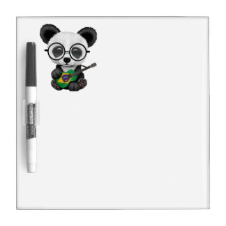 Baby Panda Playing Brazilian Flag Guitar Dry Erase Board