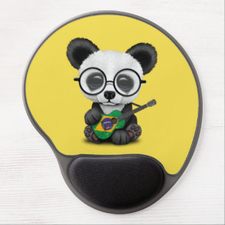 Baby Panda Playing Brazilian Flag Guitar Gel Mouse Pad