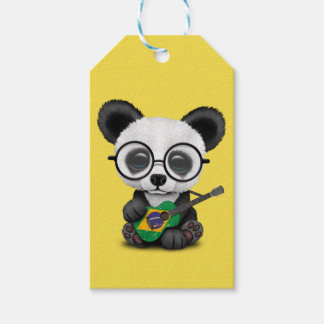 Baby Panda Playing Brazilian Flag Guitar Gift Tags
