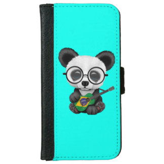 Baby Panda Playing Brazilian Flag Guitar iPhone 6 Wallet Case