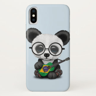 Baby Panda Playing Brazilian Flag Guitar iPhone X Case