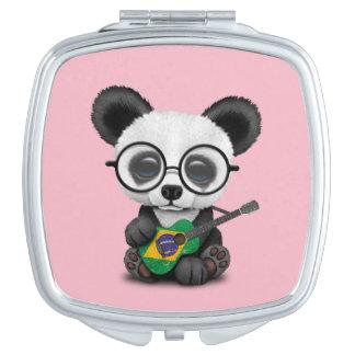 Baby Panda Playing Brazilian Flag Guitar Mirror For Makeup
