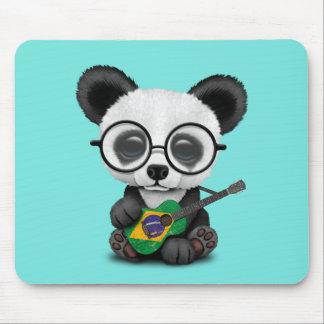 Baby Panda Playing Brazilian Flag Guitar Mouse Pad