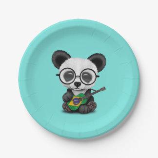 Baby Panda Playing Brazilian Flag Guitar Paper Plate