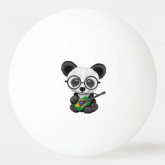 Baby Panda Playing Brazilian Flag Guitar Ping Pong Ball