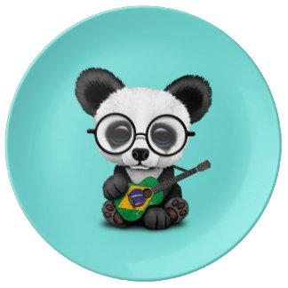 Baby Panda Playing Brazilian Flag Guitar Plate