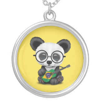 Baby Panda Playing Brazilian Flag Guitar Silver Plated Necklace
