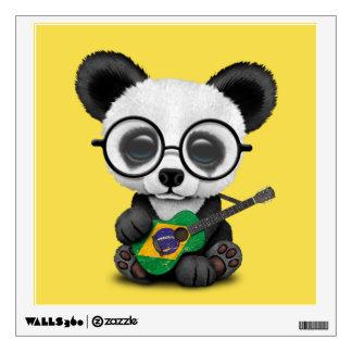 Baby Panda Playing Brazilian Flag Guitar Wall Sticker