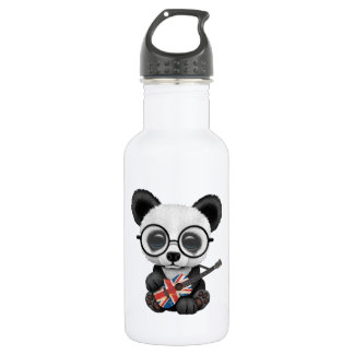 Baby Panda Playing British Flag Guitar 532 Ml Water Bottle