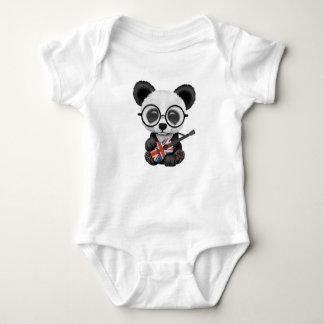 Baby Panda Playing British Flag Guitar Baby Bodysuit