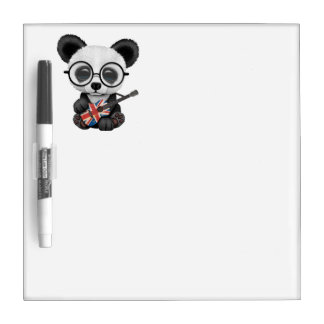 Baby Panda Playing British Flag Guitar Dry Erase Board