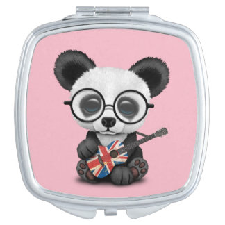 Baby Panda Playing British Flag Guitar Makeup Mirror