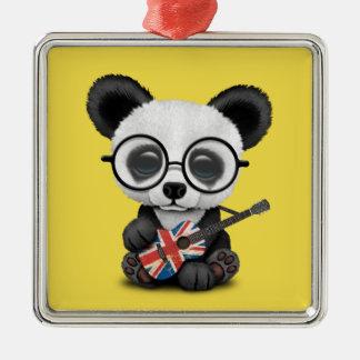 Baby Panda Playing British Flag Guitar Metal Ornament