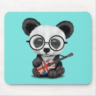 Baby Panda Playing British Flag Guitar Mouse Pad