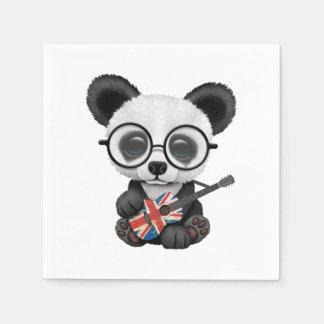 Baby Panda Playing British Flag Guitar Napkin