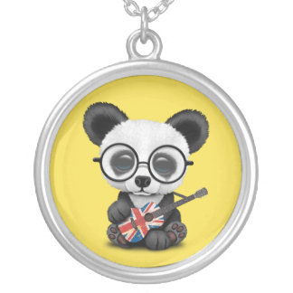 Baby Panda Playing British Flag Guitar Silver Plated Necklace