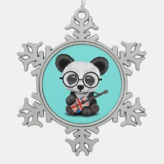 Baby Panda Playing British Flag Guitar Snowflake Pewter Christmas Ornament