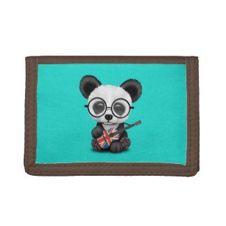 Baby Panda Playing British Flag Guitar Trifold Wallet