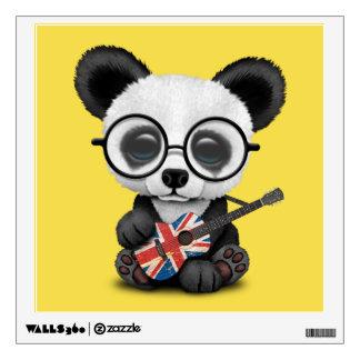 Baby Panda Playing British Flag Guitar Wall Sticker