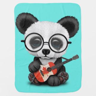 Baby Panda Playing Canadian Flag Guitar Baby Blanket