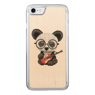 Baby Panda Playing Canadian Flag Guitar Carved iPhone 8/7 Case