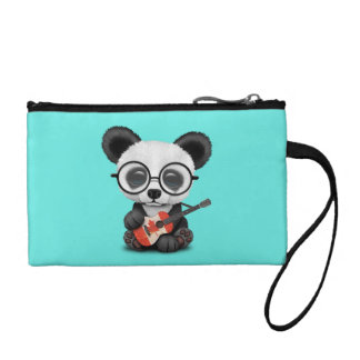 Baby Panda Playing Canadian Flag Guitar Coin Purse